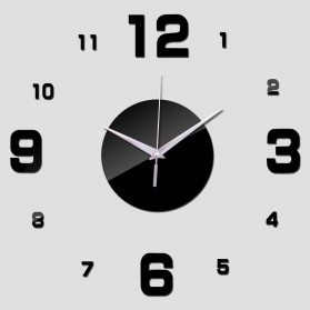 Jam Dinding DIY Giant Wall Clock Quartz Creative Design Arcylic 50-60cm - DIY-08 - Black