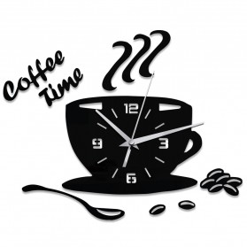 Taffware Jam Dinding Quartz Creative Design Model Coffee Cup - NS008 - Black