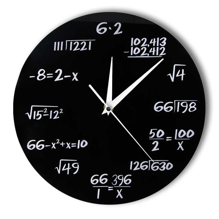 ... Jam Dinding Quartz Creative Design Model Math Equation - Black - 1 ... 51d0809776
