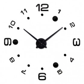Jam Dinding Besar DIY Giant Wall Clock Quartz Creative Design Arcylic 100cm - DIY-204 - Black