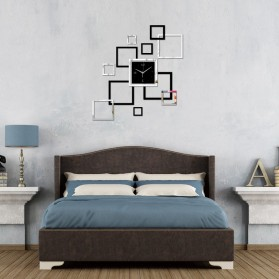 Taffware Jam Dinding 3D DIY Quartz Creative Design Model Abstract Square - SZ002 - Black - 3