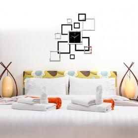 Taffware Jam Dinding 3D DIY Quartz Creative Design Model Abstract Square - SZ002 - Black - 4