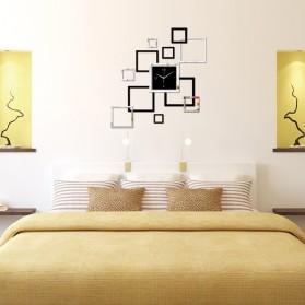 Taffware Jam Dinding 3D DIY Quartz Creative Design Model Abstract Square - SZ002 - Black - 5
