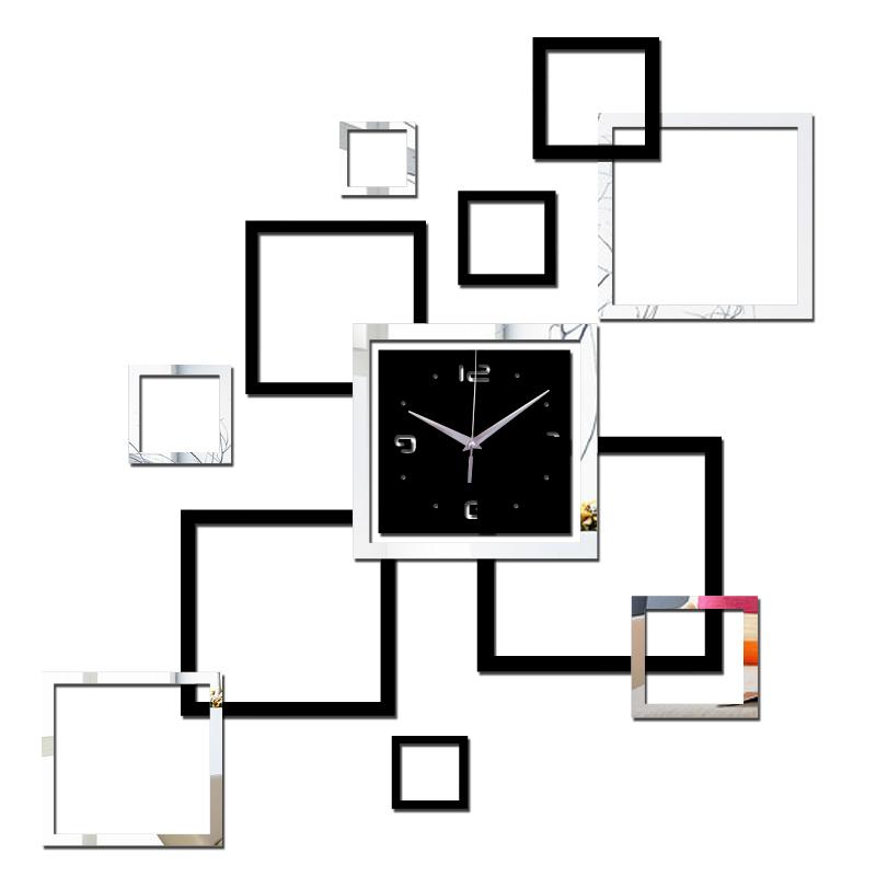 ... Jam Dinding DIY Quartz Creative Design Model Abstract Square - SZ002 -  Black - 1 ... 086eb7e61a