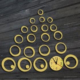 Jam Dinding 3D DIY Quartz Creative Design Model Abstract Circle - SZ003 - Silver - 3