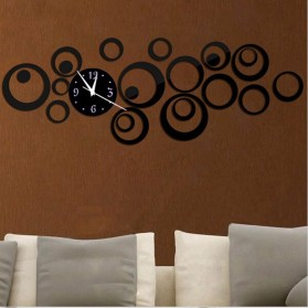 Jam Dinding 3D DIY Quartz Creative Design Model Abstract Circle - SZ003 - Black
