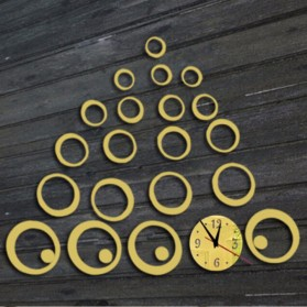 Jam Dinding 3D DIY Quartz Creative Design Model Abstract Circle - SZ003 - Black - 3