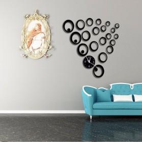 Jam Dinding 3D DIY Quartz Creative Design Model Abstract Circle - SZ003 - Black - 4