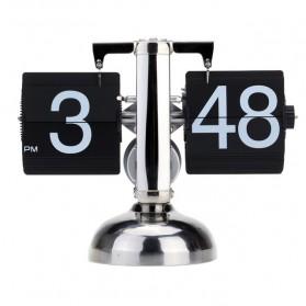 Jam Meja Retro Flip Clock Stainless Steel - Black