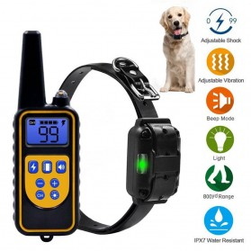 Pet Dog Training Shock Collar Stop Barking Device 1000 Meter Remote - Black