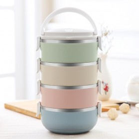 Rantang Kotak Makan Japanese Bento Stainless Steel 4 Layer - Multi-Color