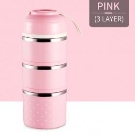 Rantang Kotak Makan Japanese Bento Stainless Steel 3 Layer - Pink