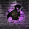 Jam Dinding Quartz Creative Design Model Doggy With LED - NS007 - Black