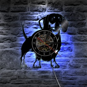 Jam Dinding Quartz Creative Design Model Doggy With LED - NS007 - Black - 2