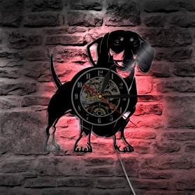 Jam Dinding Quartz Creative Design Model Doggy With LED - NS007 - Black - 3