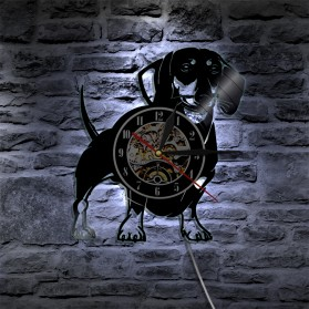 Jam Dinding Quartz Creative Design Model Doggy With LED - NS007 - Black - 4