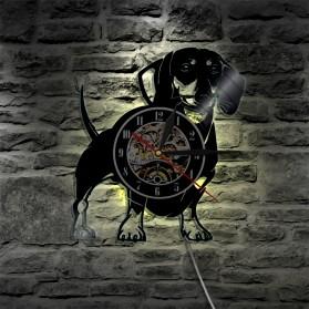 Jam Dinding Quartz Creative Design Model Doggy With LED - NS007 - Black - 5
