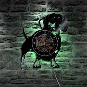 Jam Dinding Quartz Creative Design Model Doggy With LED - NS007 - Black - 6