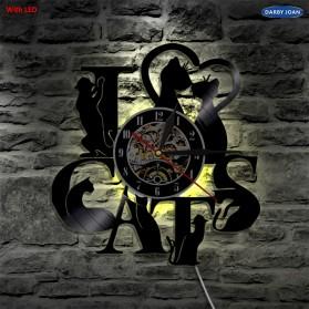 Jam Dinding Quartz Creative Design Model Cat LED - NS009 - Black - 4