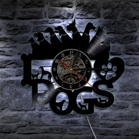 Jam Dinding Quartz Creative Design Model I Love Dog LED - NS012 - Black - 3
