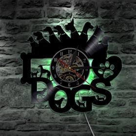 Jam Dinding Quartz Creative Design Model I Love Dog LED - NS012 - Black - 4