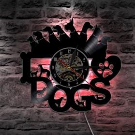 Jam Dinding Quartz Creative Design Model I Love Dog LED - NS012 - Black - 5