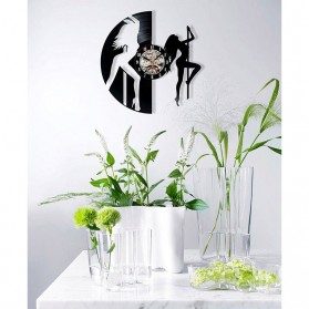 Jam Dinding Quartz Creative Design Model Dancing Pole - NS015 - Black - 2