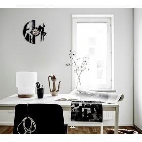 Jam Dinding Quartz Creative Design Model Dancing Pole - NS015 - Black - 5