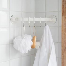 Gantungan Handuk Hanger Kamar Mandi 5 Hook Suction Cup - White