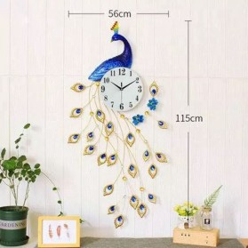 Jam Dinding 3D Quartz Creative Design Model Burung Merak - T1807 - Blue