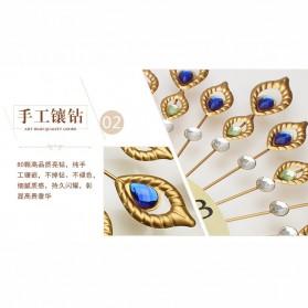 Jam Dinding 3D Quartz Creative Design Model Bulu Merak Elegan - T6901 - Golden - 3