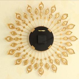 Jam Dinding 3D Quartz Creative Design Model Bulu Merak Elegan - T6901 - Golden - 4