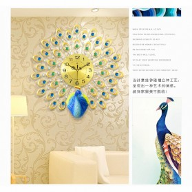 Jam Dinding 3D Quartz Creative Design Model Burung Merak 60 x 60 CM - T1808 - Golden - 3