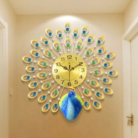 Jam Dinding 3D Quartz Creative Design Model Burung Merak 60 x 60 CM - T1808 - Golden - 4