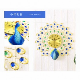 Jam Dinding 3D Quartz Creative Design Model Burung Merak 60 x 60 CM - T1808 - Golden - 5