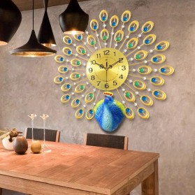 Jam Dinding 3D Quartz Creative Design Model Burung Merak 60 x 60 CM - T1808 - Golden - 7