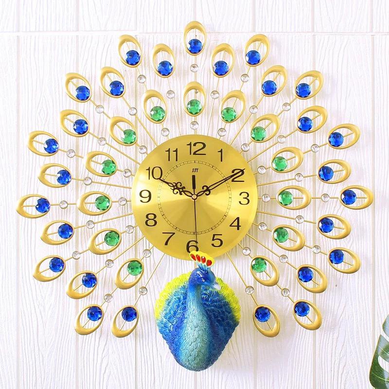 ... Jam Dinding Quartz Creative Design Model Burung Merak 3D 60 x 60 CM -  Golden ... 3bb9e9e159