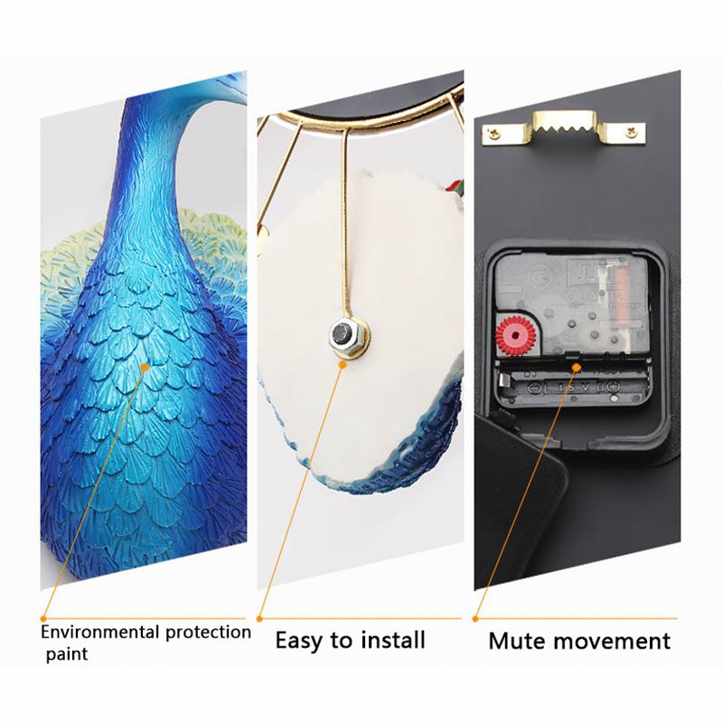 Jam Dinding Quartz Creative Design Model Burung Merak 3D 60 x 60 CM -  Golden ... 98c5062ad5