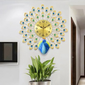 Jam Dinding 3D Quartz Creative Design Model Burung Merak 70 x 70 CM - T1808 - Golden