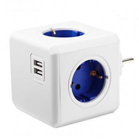 Stop Kontak 4 Elektric Plug + 2 USB Port Portable - Blue