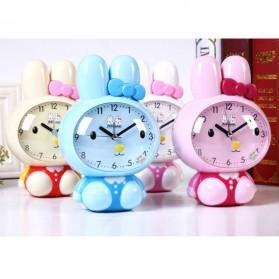 Jam Meja Analog Model Cute Rabbit - Pink - 2