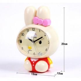 Jam Meja Analog Model Cute Rabbit - Pink - 6
