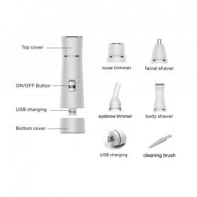 Electric Shaver Alat Cukur Bulu Halus Elektrik 4 in 1 - White - 2
