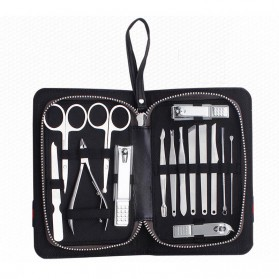 Nail Art Set Manicure Pedicure + Pouch 15 in 1 - KM-TV016 - Black