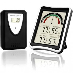 Sensor Temperature Thermometer Humidity with Wireless Probe - DTH-108 - Black