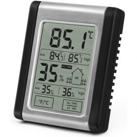 Digital Thermometer Hygrometer High Low Value - DTH-124 - Black