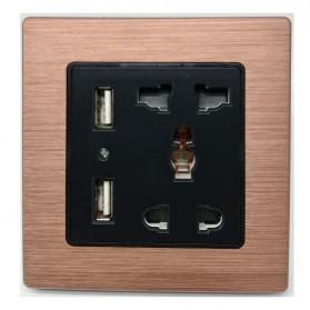 Stop Kontak Universal UK EU US with 2 Port USB - LC-21 - Black