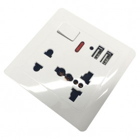 Stop Kontak Universal UK EU US 2 Port USB with On Off Switch - LC-20 - White