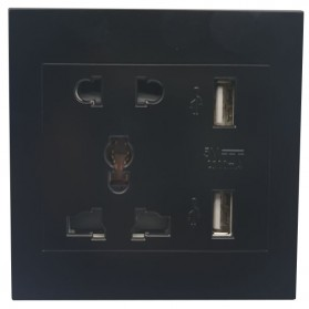 Coswall Stop Kontak 86 Panel Universal UK EU US with 2 Port USB - CS-R12 - Black