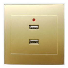 Stop Kontak Dinding 2 Port USB Wall Socket 3500MA - ES-USB-2 - Golden